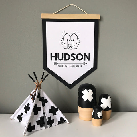 Kids Wall Banner_Geometric Bear Face Outline with personalised name_colours and details customisable