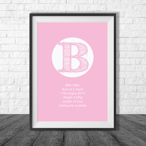 Birth Print Scratch Letter Style - Name and birth details - all colours and details customisable