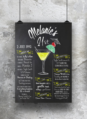 21st birthday chalkboard print cocktail style