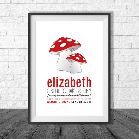 Birth Print Mushrooms style - Name and birth details - all colours and details custamisable