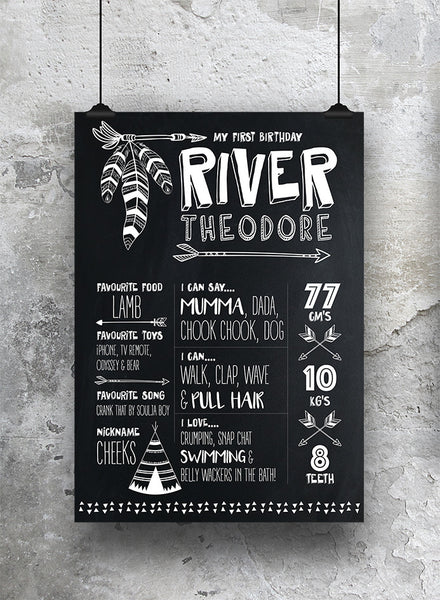 1st Birthday Chalkboard Tribal - SO! Collective