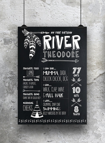 1st birthday chalkboard print tribal style black and white