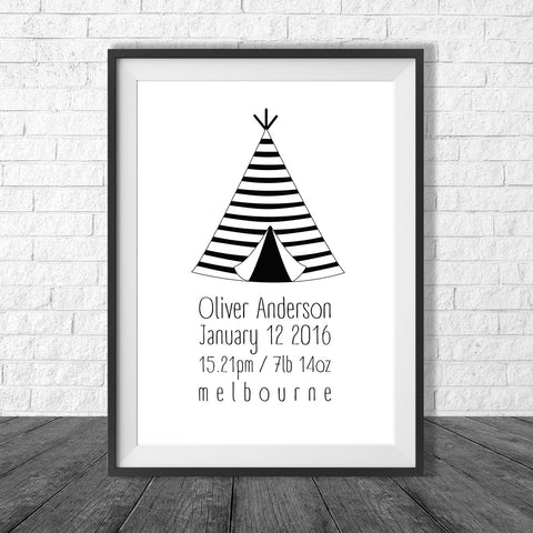 Birth Print Tribal Teepee style - Name and birth details - all colours and details customisable
