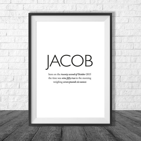 Birth Print Type style - Name and birth details - all colours and details customisable