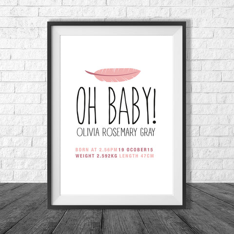 Birth Print Oh baby! Style with feather - Name and birth details - all colours and details customisable