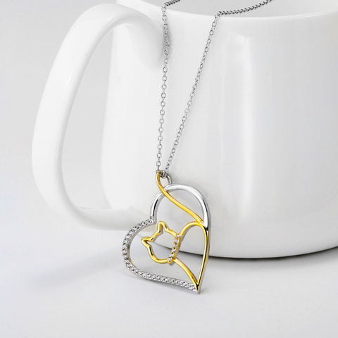 Sterling Silver Cat Heart Necklace - Allison Breeze Fashion Jewelry