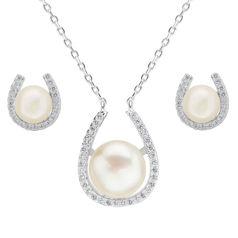 925 Sterling Silver & Pearl Necklace & Earring Set