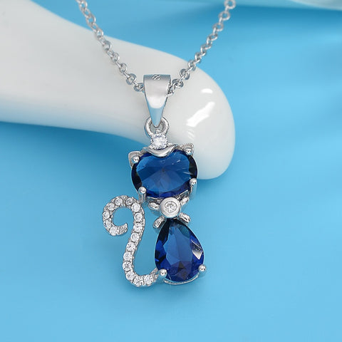 925 Sterling Silver Cat Necklace with Blue Teardrop Cubic Zirconia Pendant - Allison Breeze Fashion Jewelry