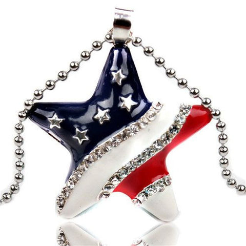 American Flag Glass Cabochon Pendant Necklace - Allison Breeze Fashion Jewelry