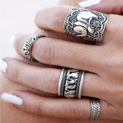 Boho Beach Jewelry Set of 4 Vintage Style Unique Carved Rings - Allison Breeze Fashion Jewelry