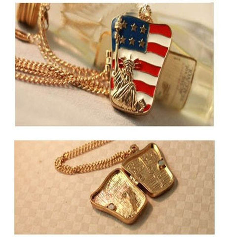 American Flag Locket Necklace - Allison Breeze Fashion Jewelry