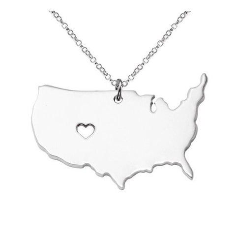 American Map Pendant Necklaces - Allison Breeze Fashion Jewelry