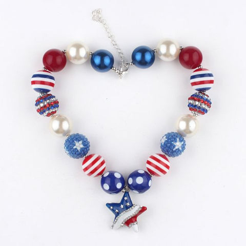 Set of 2 American flag beaded necklaces - Allison Breeze Fashion Jewelry