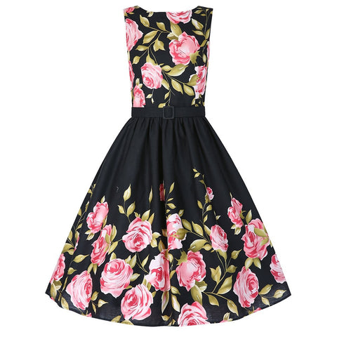 1950's Vintage Inspired Sleeveless Floral Swing Dress