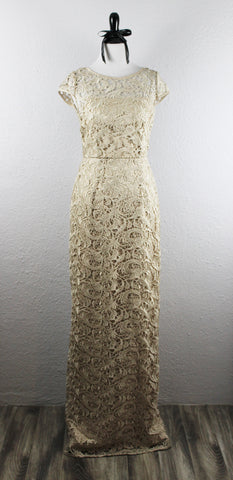 ADRIANNA PAPELL - Lace Champagne Evening Gown