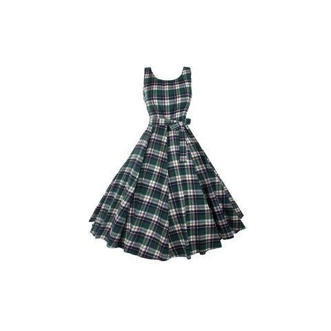 1950's Vintage Inspired Green Plaid Fit & Flare Swing Dress