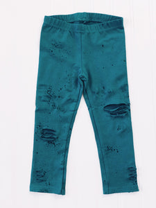 Crushin Teal Disstressed Leggings