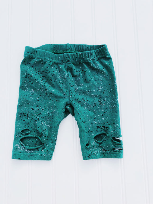 Deep Forest Green Distressed Shorties