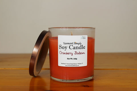 Cranberry Balsam All Natural Soy Candle Vermont Simple Beauty