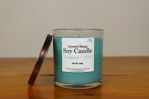 Eucalyptus and Mint All Natural Soy Candle Vermont Simple Beauty