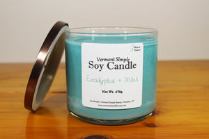 Doble Wick Eucalyptus and Mint All Natural Soy Candle Vermont Simple Beauty