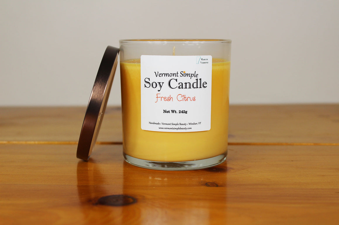 Fresh Citrus All Natural Soy Candle Vermont Simple Beauty