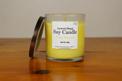 Fresh Lemons All Natural Soy Candle Vermont Simple Beauty