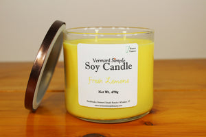 Double Wick Fresh Lemons All Natural Soy Candle Vermont Simple Beauty