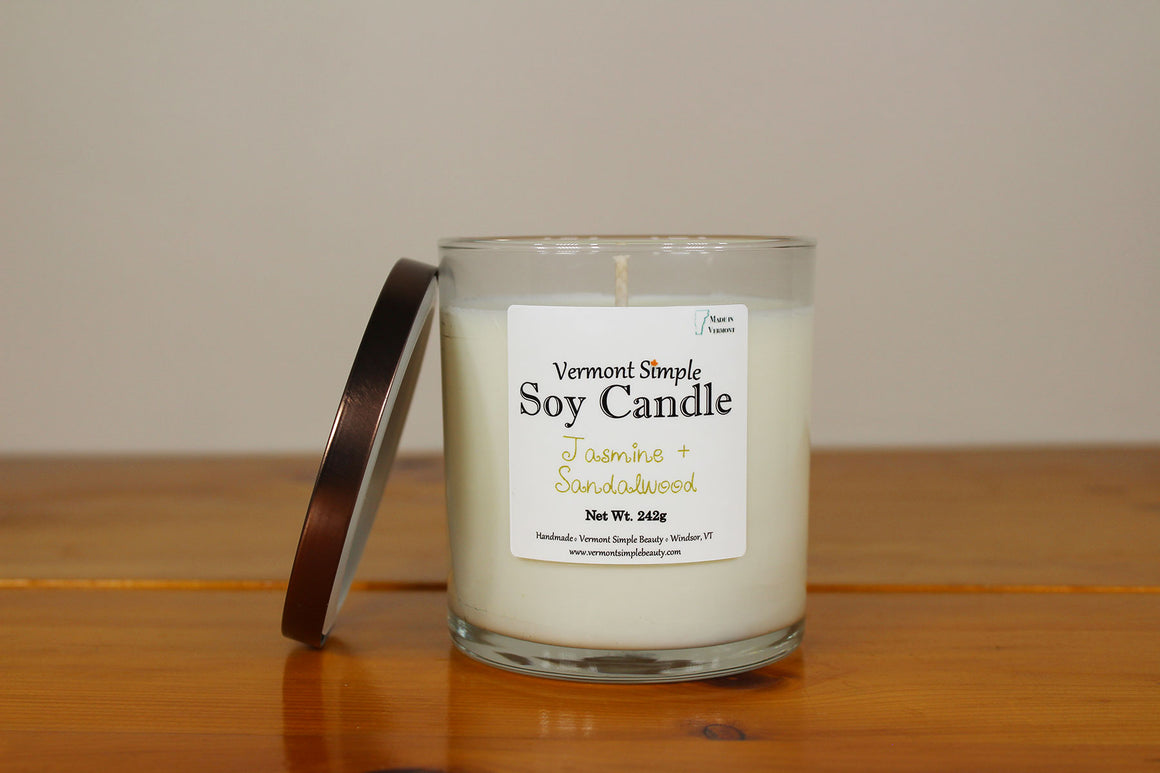 Jasmine and Sandalwood All Natural Soy Candle Vermont Simple Beauty
