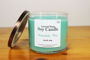 Double Wick Mountain Pine All Natural Soy Candle Vermont Simple Beauty