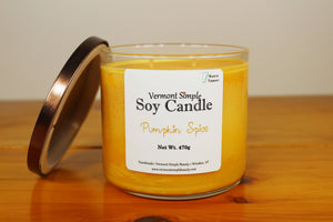 All Natural Handmade Soy Candle Pumpkin Spice Double Wick Tumbler