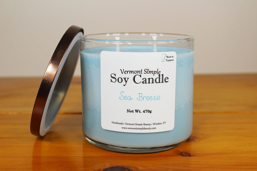 Sea Breeze All Natural Soy Candle Vermont Simple Beauty