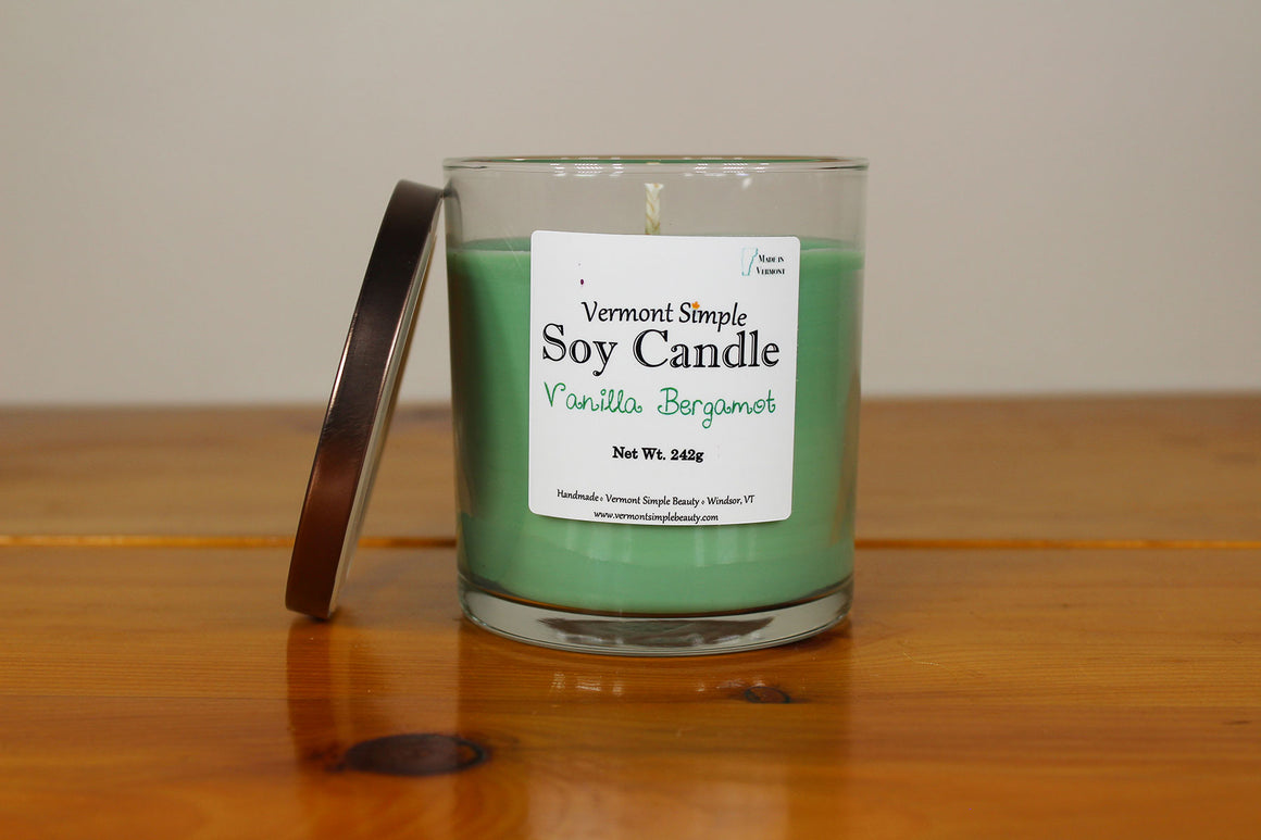 Vanilla Bergamot All Natural Soy Candle Vermont Simple Beauty