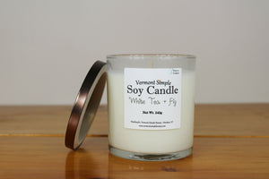White Tea and Fig All Natural Soy Candle Vermont Simple Beauty