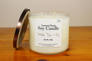 Double Wick White Tea and Fig All Natural Soy Candle Vermont Simple Beauty