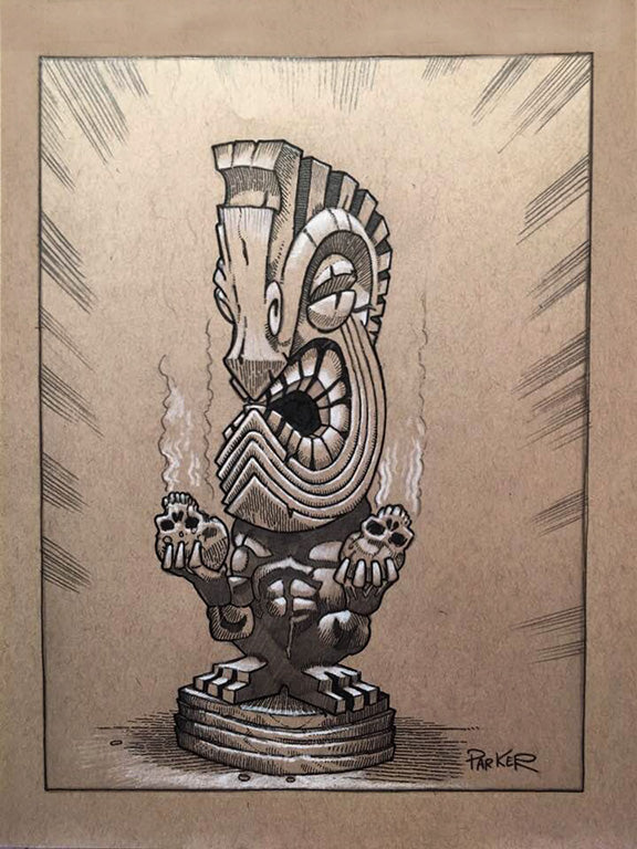 Bird Man Tiki Art in Progress
