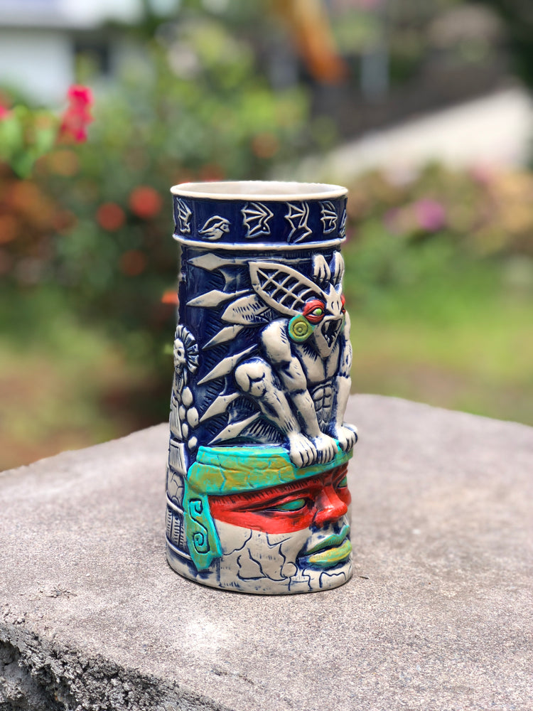 Limited Edition Handpainted BAT GUARDIAN - Camazotz! TIKI MUG - Blue