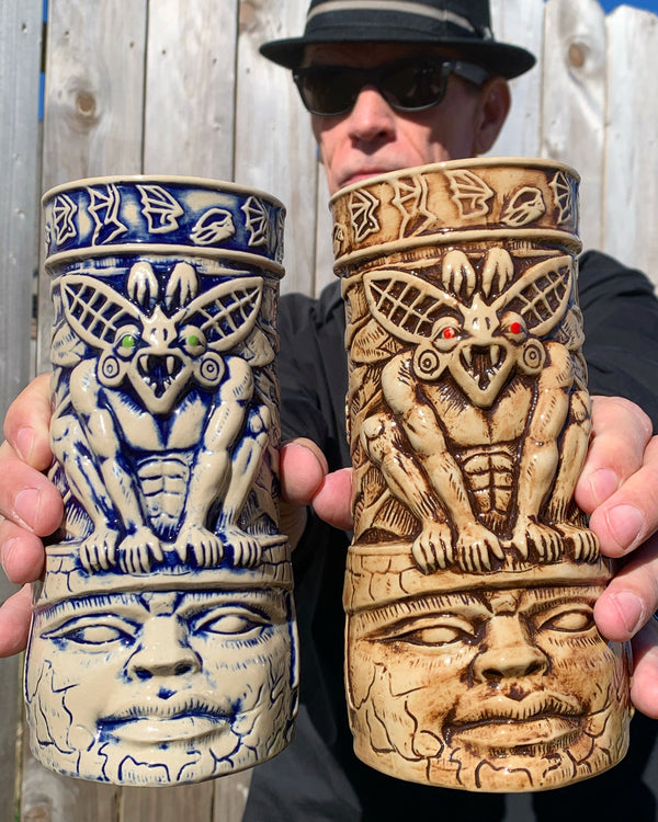 Set of 2 BAT GUARDIAN - Camazotz! Tiki Mugs - Bone & Blue Stone - OPEN EDITION PRESALE
