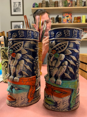 BOGO - Limited Edition Handpainted BAT GUARDIAN - Camazotz! TIKI MUG - Blue