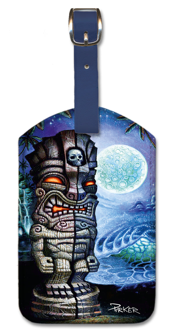 Full Moon Tiki Luggage Tag