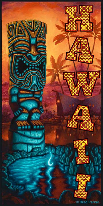 Hawaii Luxury BEACH TOWEL - Tiki of the Blue Pool