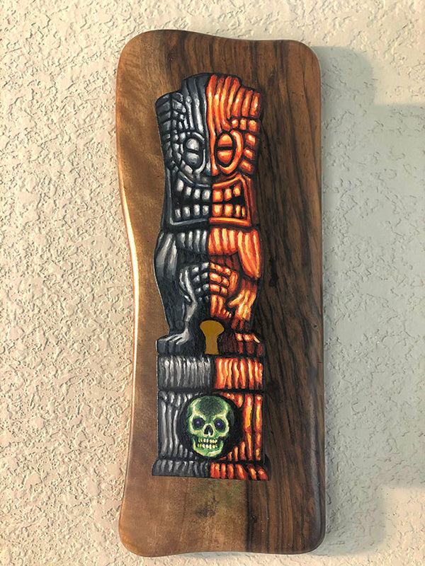 2020 Halloween Edition of Tiki Joe - Wooden Tiki Wall Plaque