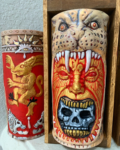 Aztec GOLD Jaguar Warrior Tiki Mug Hand-painted, Signed, LIMITED EDITION!