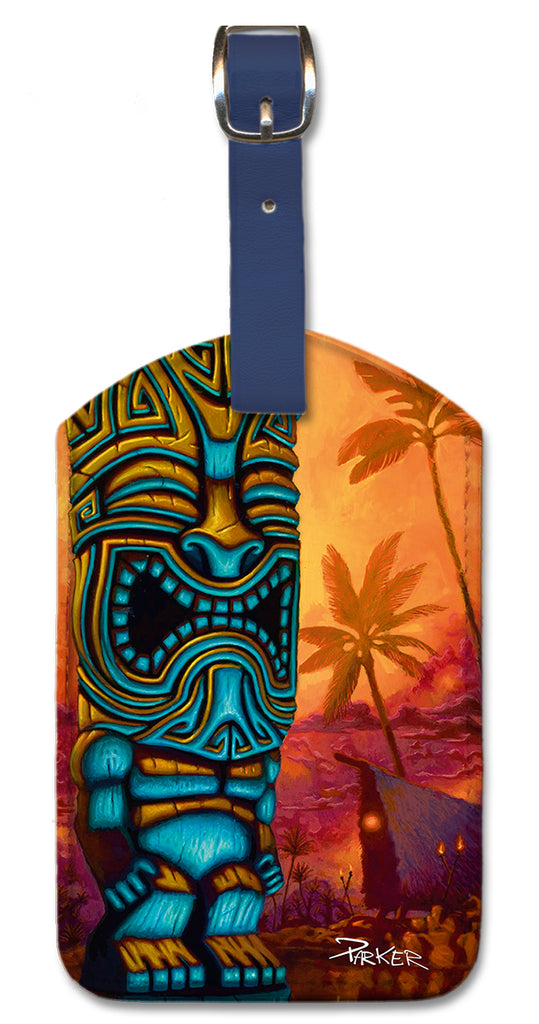 Tiki of the Blue Pool Luggage Tag