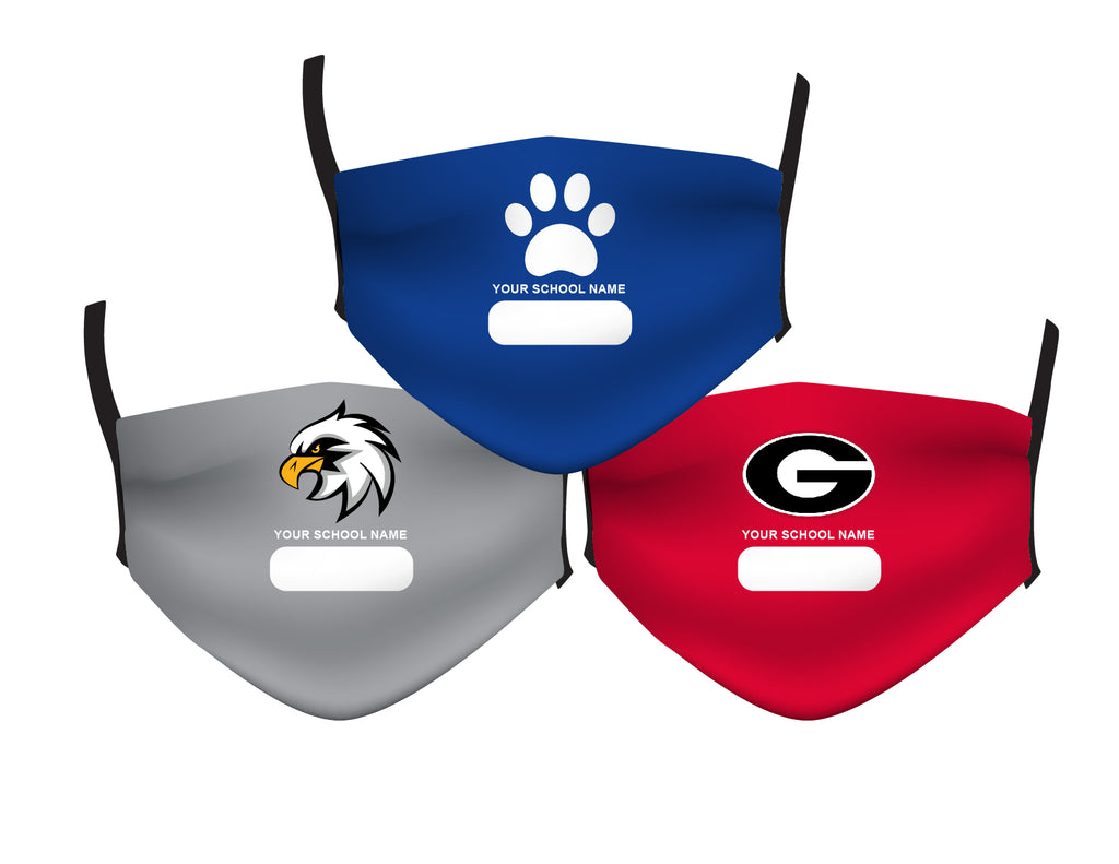 CUSTOM SCHOOL MASKS -YOUR SCHOOL NAME & MASCOT
