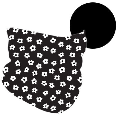 FLORAL/ BLACK REVERSIBLE NECK GAITER