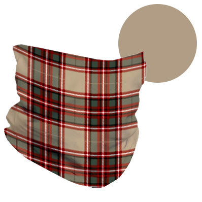 PLAID & TAN REVERSIBLE NECK GAITER