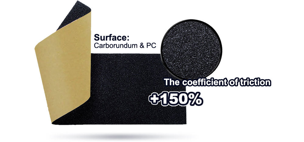 Surface: Carborundum & PC. The coefficient of triction +150%.