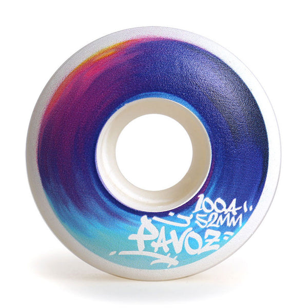 skateboard wheels graphics inside 52mm 100A  Rainbow 2 White