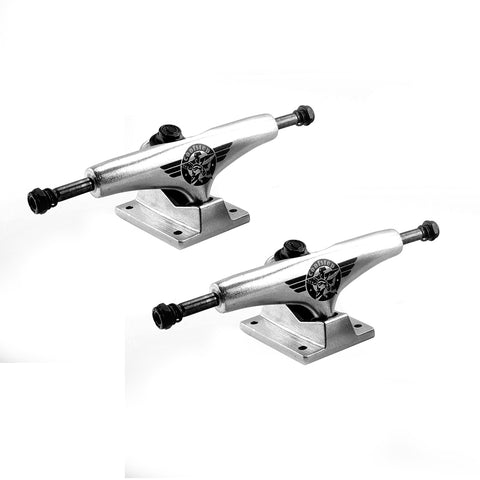 Skateboard Trucks Quality 7.5 Mid Profile Silver With Logo 1 Pair